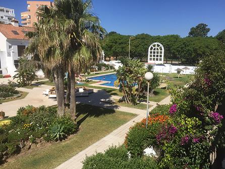Garden house pool view
