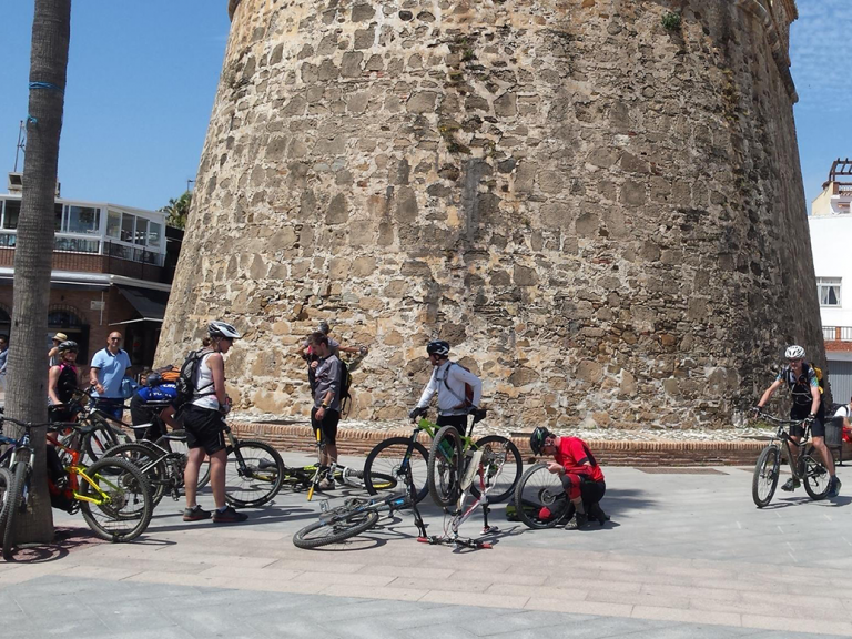 La Cala village lunch stop in front of the tower