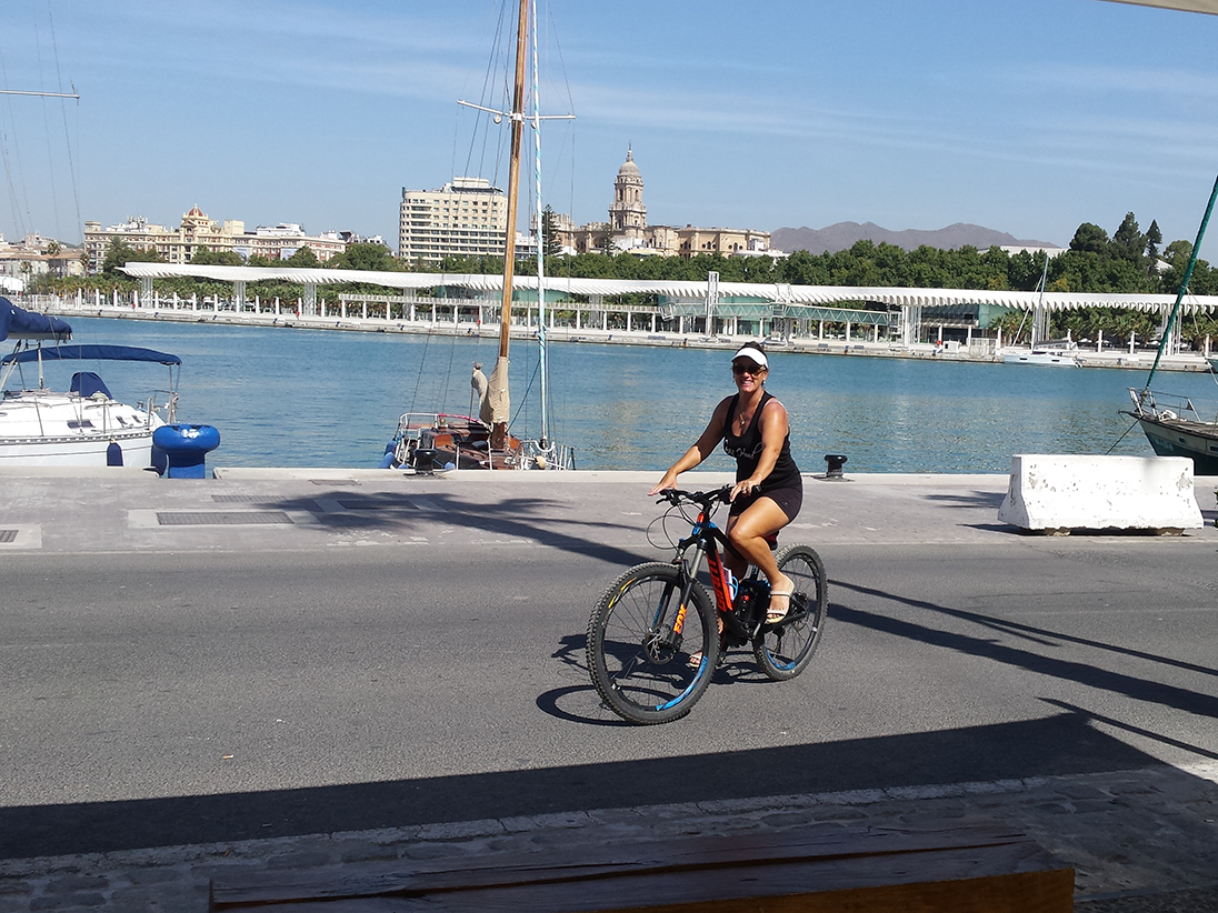 Malaga Seafront ride through the Muelle Uno port