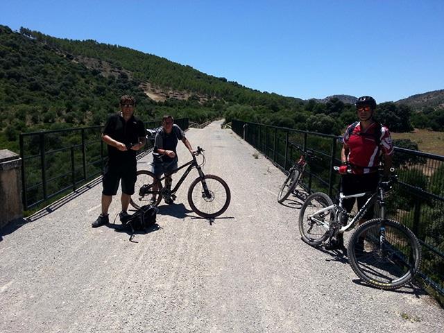Via Verde de la Sierra posing on bridge