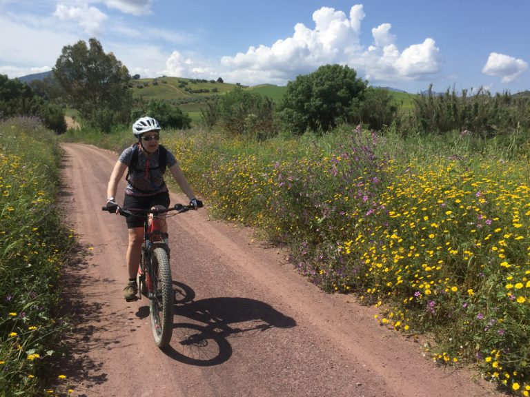 White Village Tour of Andalucia cycling along dirt roads with green flowery lovely scenery