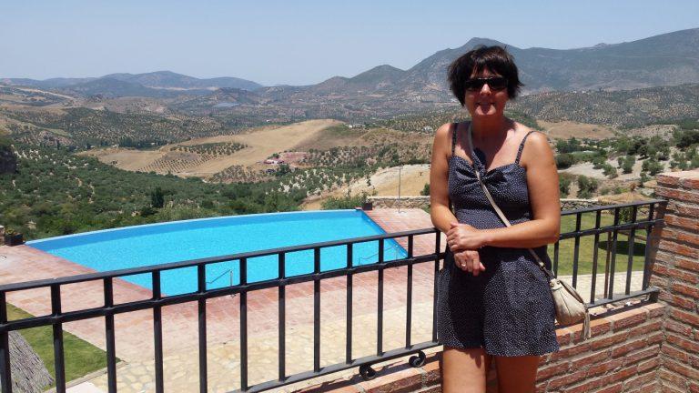 Zahara de la Sierra hotel los tadeos balcony view of infinity pool