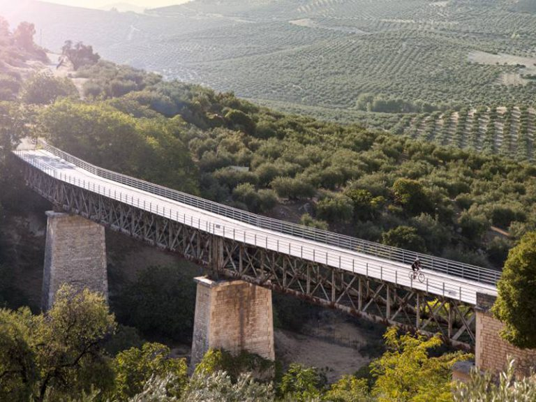 Via Verde del Aceite riding over viaduct bridge