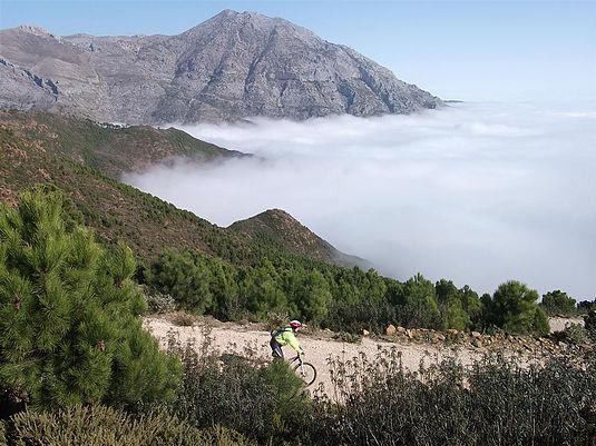 White Village Tour of Andalucia riding above mist mountain background