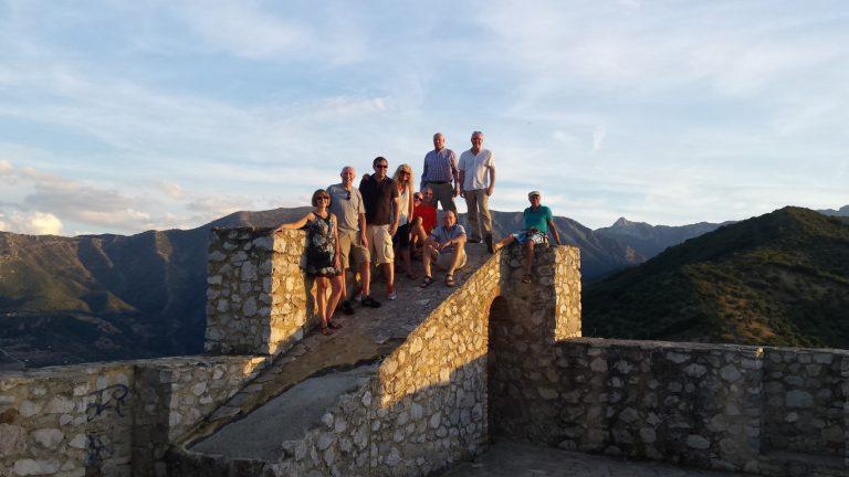 Zahara de la Sierra group photo on castle tower