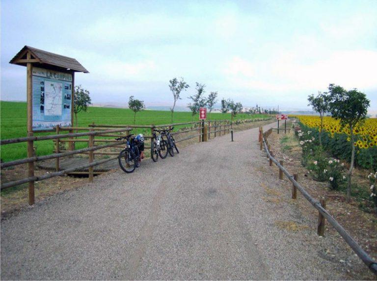 Via Verde de la Campiña trailhead with bikes