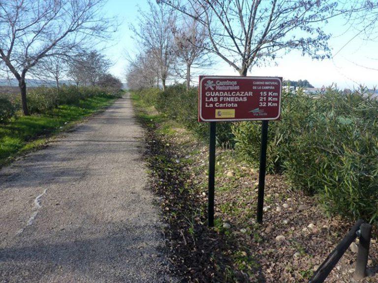 Via Verde de la Campiña sign of upcoming villages