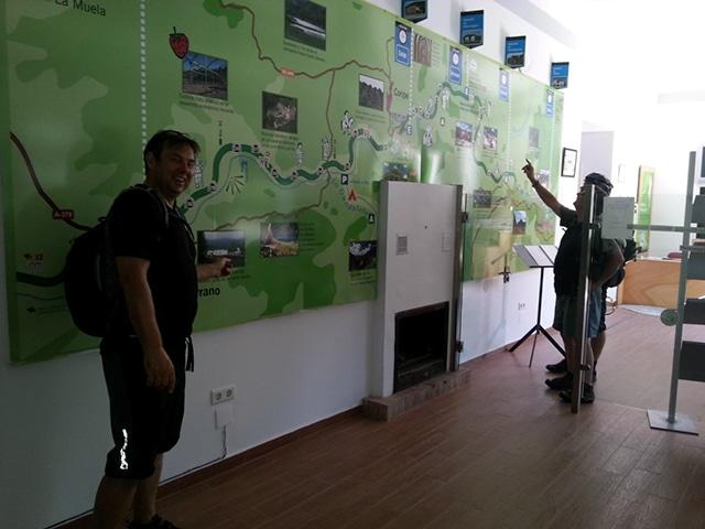 Via Verde de la Sierra tourist office with big map