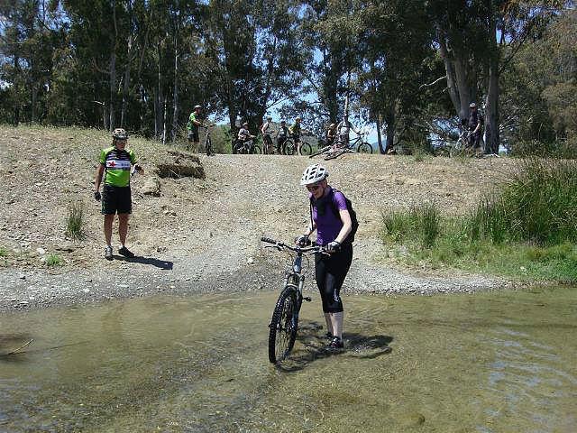 Rio Grande Wet feet pushing the bike across the river