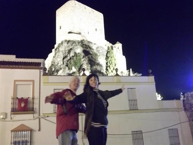 Via Verde de la Sierra posing in front of village castle