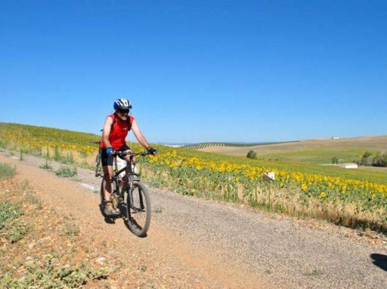 Via Verde de la Campiña riding along flat wide dirt roads