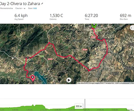 Olvera to Azahara map