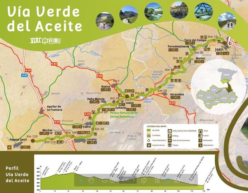 Via Verde del Aceite flyer with map