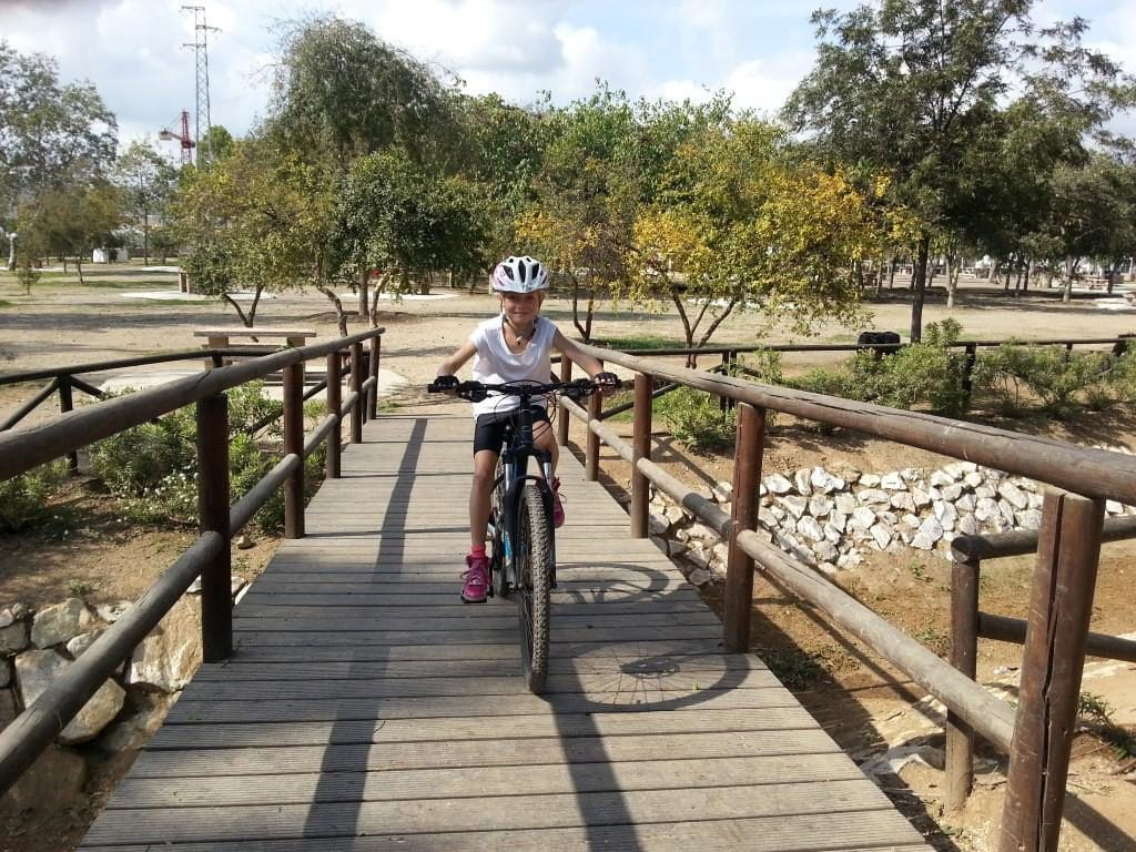 Sierra MTB Family ride Kid crossing bridge