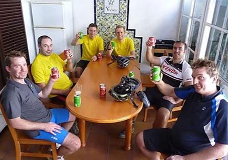 Sierra MTB after ride beers inside Breakfast house
